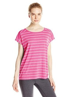 Calvin Klein Performance Women's Micro Stripe Keyhole Back Tee
