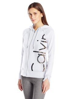 Calvin Klein Performance Women's Molten Cut Off Logo Zip Hoodie Jacket  M