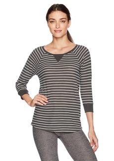 Calvin Klein Performance Women's Monterey Stripe 5/8 Sleeve Raglan Shirttail Pullover  S