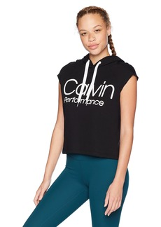 Calvin Klein Performance Women's Muscle Boxy Cropped Logo Terry Hoodie