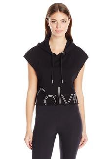 Calvin Klein Performance Women's Outline Cut Off Logo Crop Pullover Hoodie  L