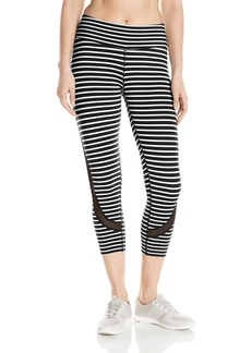 Calvin Klein Performance Women's Pacifica Stripe Crop Tight with Back Mesh  XL
