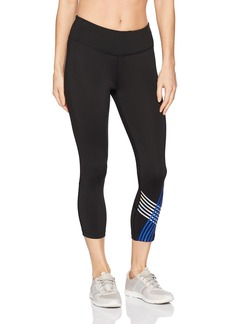 Calvin Klein Performance Women's Placed Linear Graphic Crop Tight with Mesh Insert  L