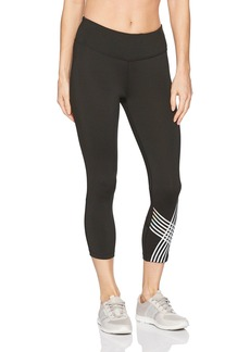 Calvin Klein Performance Women's Placed Linear Graphic Crop Tight with Mesh Insert  XL