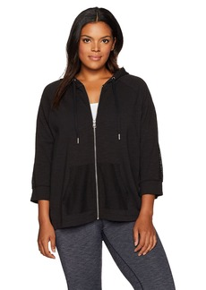 Calvin Klein Performance Women's Plus Size 3/4 Sleeve Hoodie Jacket W/ Mesh Piecing