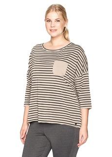 Calvin Klein Performance Women's Plus Size Cape Cod Stripe Hi-Low Dolman 3/4 Sleeve Tee