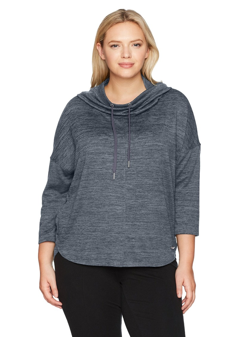 fc36911284f Calvin Klein Performance Women s Plus Size Cowl Neck Hoodie Curved Hem  Pullover