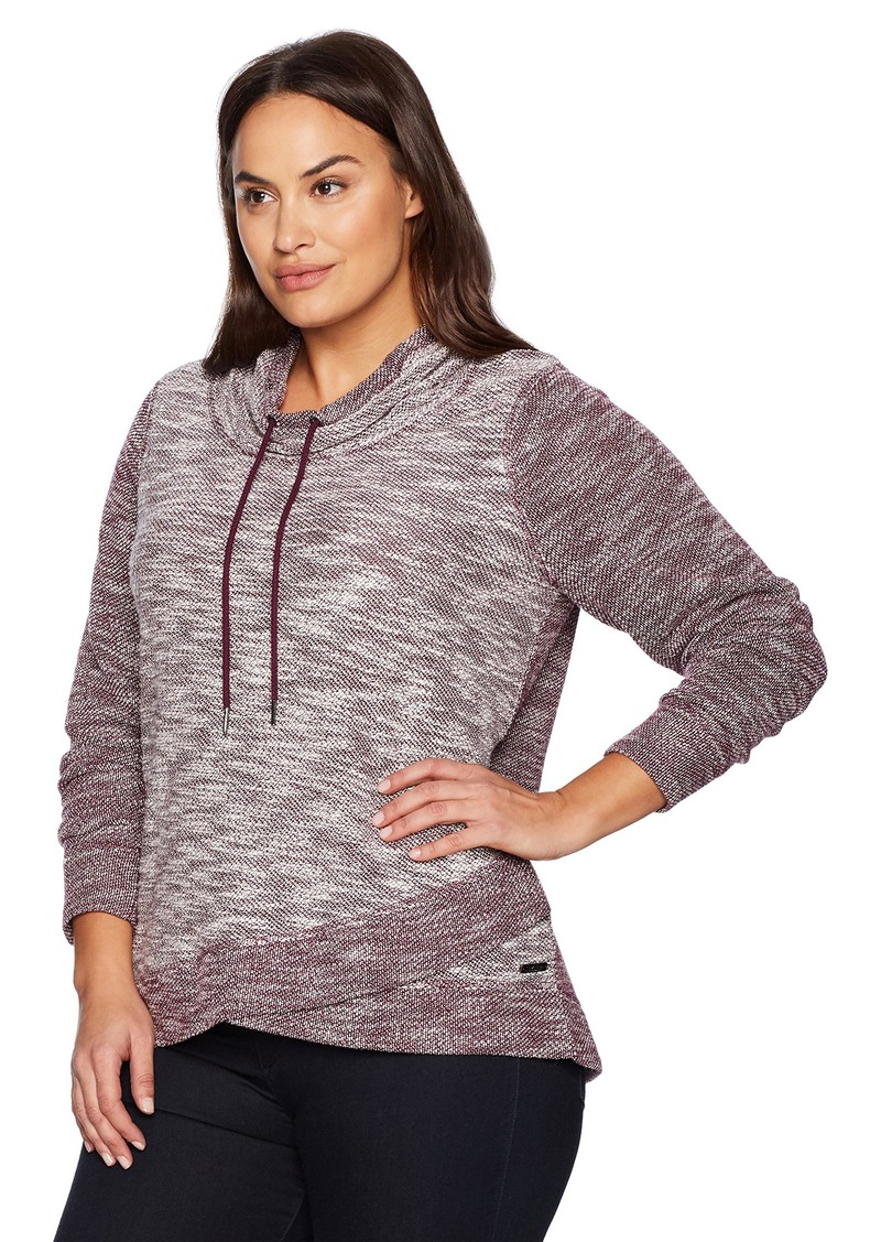 Calvin Klein Performance Women's Plus Size Crossover Cowl Neck Pullover