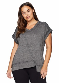 Calvin Klein Performance Women's Plus Size DEEP V-Neck Short Sleeve Asymmetric Hem Pullover