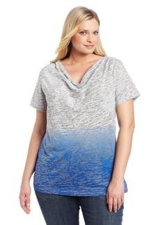 Calvin Klein Performance Women's Plus-Size Dip Dye Burnout Cowl Neck Tee
