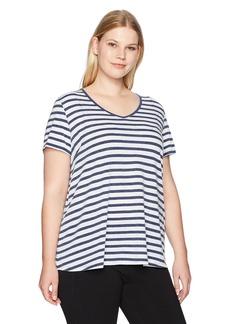 Calvin Klein Performance Women's Plus Size Distress Wash Be Bold Stripe Pleat Back Tee  1X