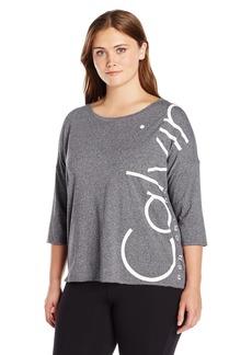 Calvin Klein Performance Women's Plus Size Dolman Sleeve Logo Tee