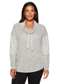 Calvin Klein Performance Women's Plus Size Drop Shoulder Funnel Neck Pullover