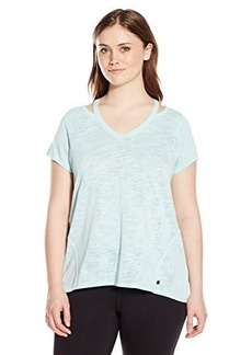 Calvin Klein Performance Women's Plus-Size Knit Cut Out Shoulder Tee