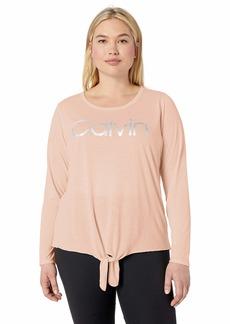 Calvin Klein Performance Women's Plus Size Logo Knot Front Long Sleeve Tee