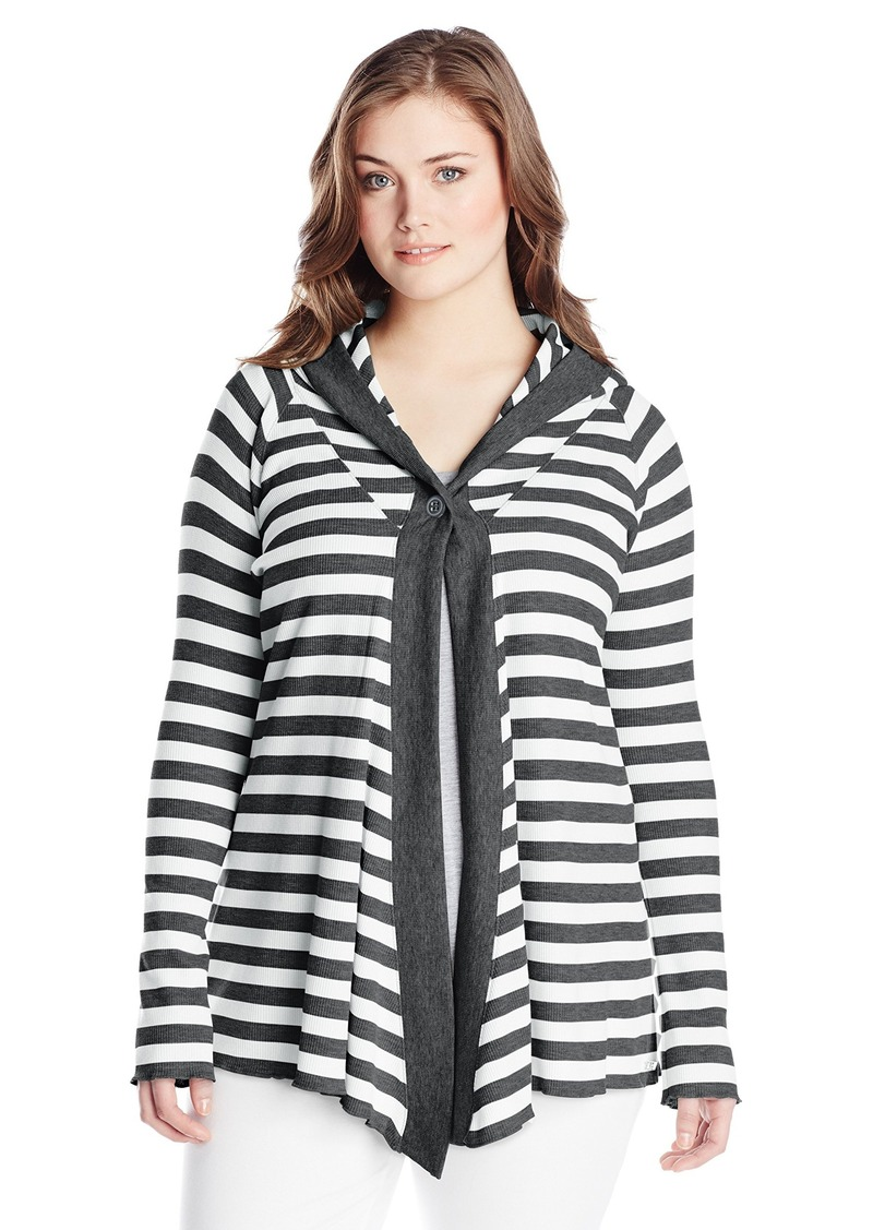 Performance Women's Plus-Size One Button Thermal Stripe Cardigan