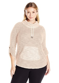 Calvin Klein Performance Women's Plus Size Puffy Knit Funnel Neck Sweatshirt