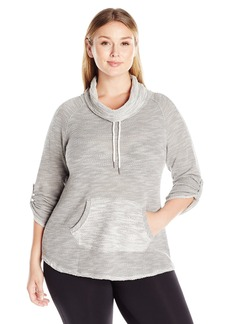 Calvin Klein Performance Women's Plus Size Puffy Knit Funnel Neck Sweatshirt
