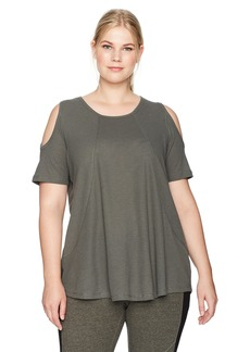 Calvin Klein Performance Women's Plus Size Short Sleeve Cold Shoulder Tee