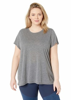 Calvin Klein Performance Women's Plus Size Short Sleeve Pleat Back Knit Tee