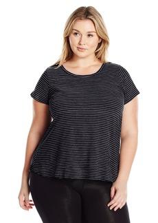 Calvin Klein Performance Women's Plus Size Slub Stripe Criss Cross Tee