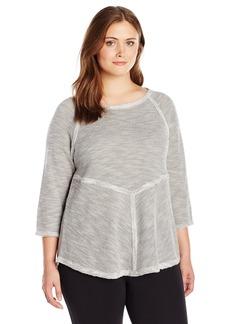 Calvin Klein Performance Women's Plus Size Textured Knit 3/4 Sleeve Tunic