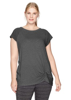 Calvin Klein Performance Women's Plus Size Twist Front Cap Sleeve Pullover