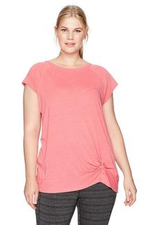 Calvin Klein Performance Women's Plus Size Twist Front Cap Sleeve Pullover