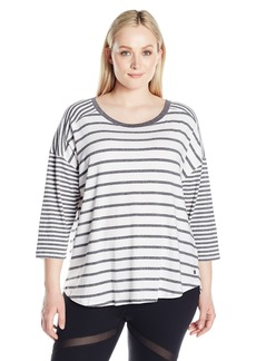 Calvin Klein Performance Women's Plus SizeStripe Mix Drop Shoulder 3/4 Sleeve Tee Size