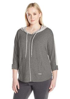 Calvin Klein Performance Women's Plus Sizezip Front Dolman Sleeve Colorblock Hoodie Size