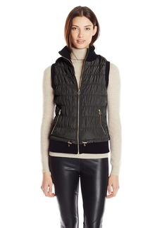 Calvin Klein Performance Women's Puffer Vest with Sweater Rib Inserts