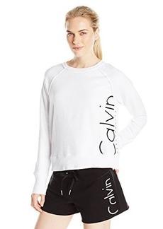 Calvin Klein Performance Women's Rib Trim Exxploded Logo Crop Sweatshirt  XL