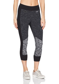 Calvin Klein Performance Women's Ribbed Waistband and Cuff Colorblock Crop Legging  L