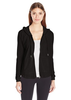 Calvin Klein Performance Women's Ruched Long Sleeve Zip Front Hoodie Jacket  L