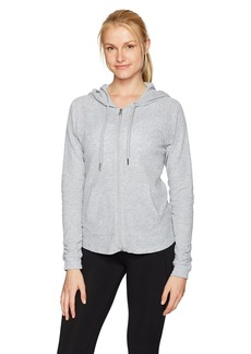 Calvin Klein Performance Women's Ruched Long Sleeve Zip Front Hoodie Jacket  M