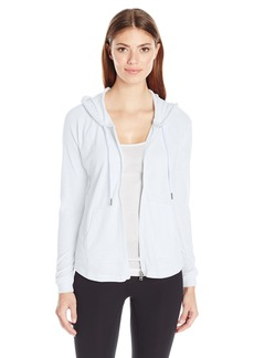 Calvin Klein Performance Women's Ruched Long Sleeve Zip Front Hoodie Jacket  S