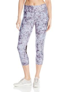 Calvin Klein Performance Women's Shimmer Print Cut Off Iridescent Logo Crop Tight  S