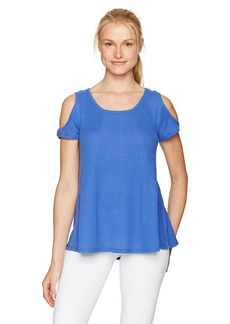 Calvin Klein Performance Women's Short Sleeve Cold Shoulder Tee with Angled Front Seams  L