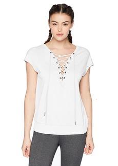Calvin Klein Performance Women's Short Sleeve Drop Shoulder Tie Back Tee  S