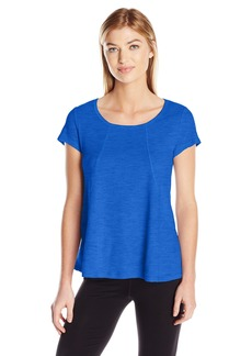 Calvin Klein Performance Women's Short Sleeve Hi Low Tee with Angled Front Seams  M