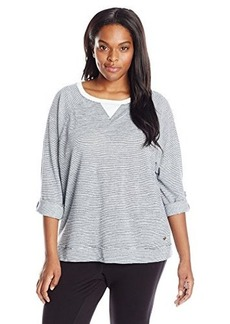 Calvin Klein Performance Women's Size Plus Micro Stripe Knit Tee