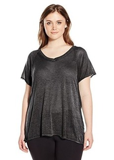 Calvin Klein Performance Women's Size Plus Roll Sleeve Icy Wash Tee