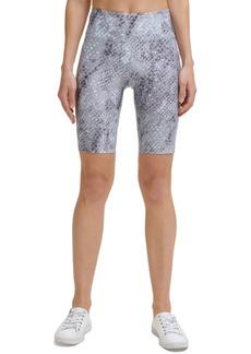 Calvin Klein Performance Women's Snakeskin-Print High-Rise Bike Shorts