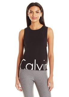 Calvin Klein Performance Women's Solid Cut Off Logo Drop Armhole Crop Tank  L