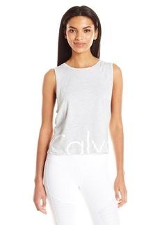 Calvin Klein Performance Women's Sonoma Stripe Solid Cut Off Logo Drop Armhole Crop Tank  L