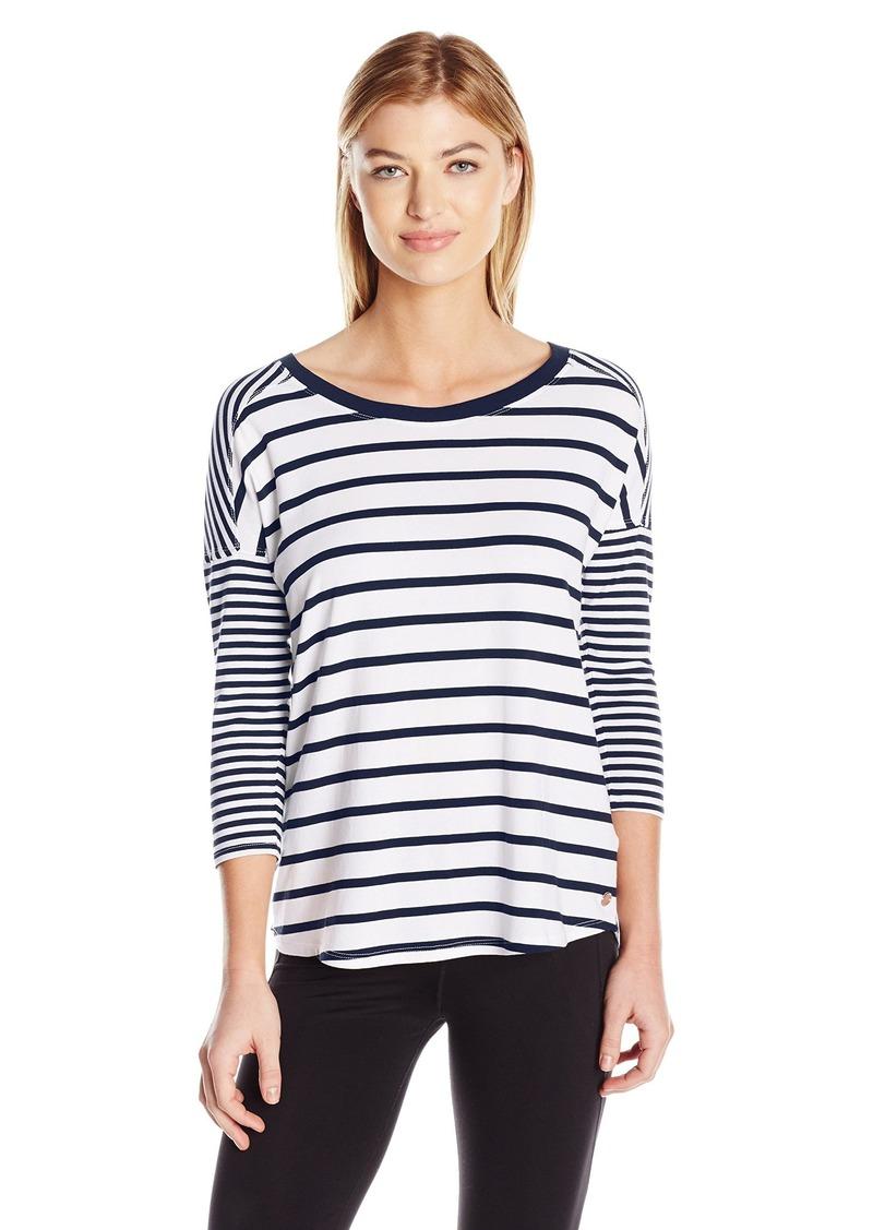 Calvin Klein Performance Women's Stripe Mix Drop Shoulder 3/4 Sleeve Tee  M