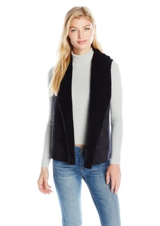 Calvin Klein Performance Women's Sueded Faux Fur Vest With Sweater Back  L