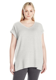 Calvin Klein Performance Women's T Sleeve V Neck Tunic with Back Pleat  L