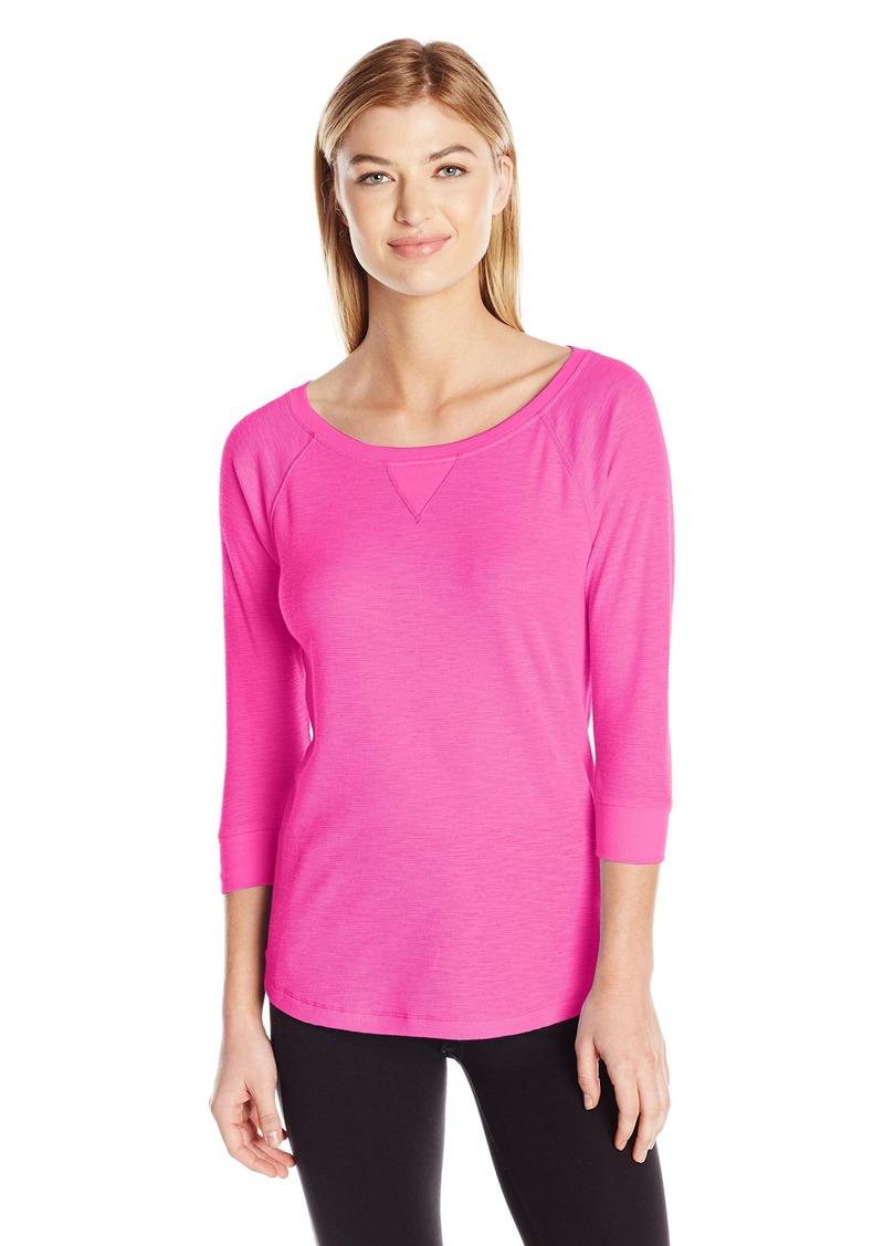 Calvin Klein Performance Women's Tic Tac Toe 3/4 Sleeve Raglan Shirttail Pullover  S