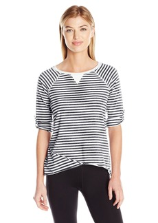 Calvin Klein Performance Women's Venice Beach Stripe 3/4 Sleeve Roll Tab  M